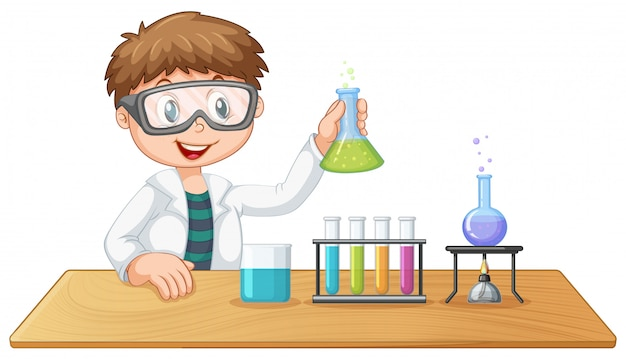 Un niño en clase de química.