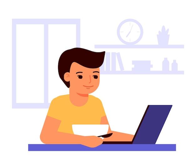 El niño come y mira la computadora portátil. alimentos y usando laptop. quédate en casa. adicción a internet.
