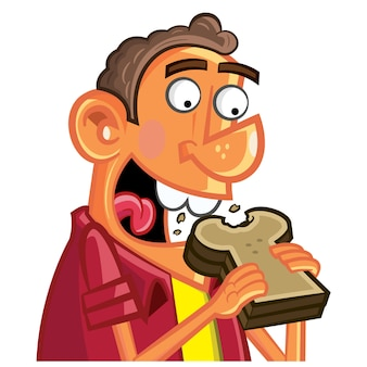 Niño comiendo pan tostado