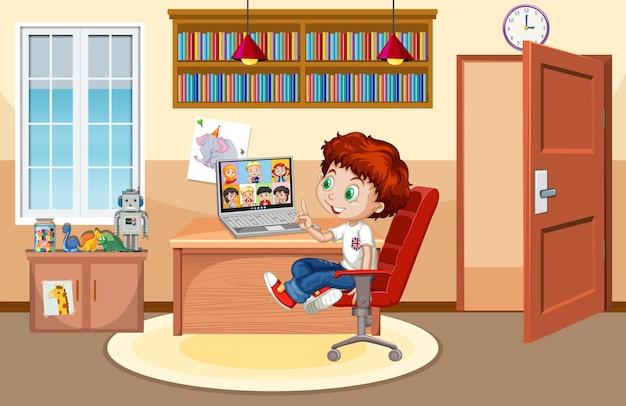 Un niño se comunica por videoconferencia con amigos en la escena de la casa.