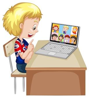 Un niño comunicarse por videoconferencia con amigos sobre fondo blanco.