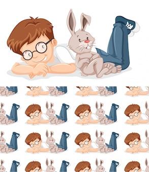 Niño y conejo