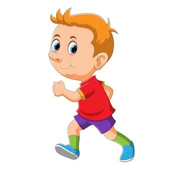 El niño corre con la remera brillante en el día de la ilustración.