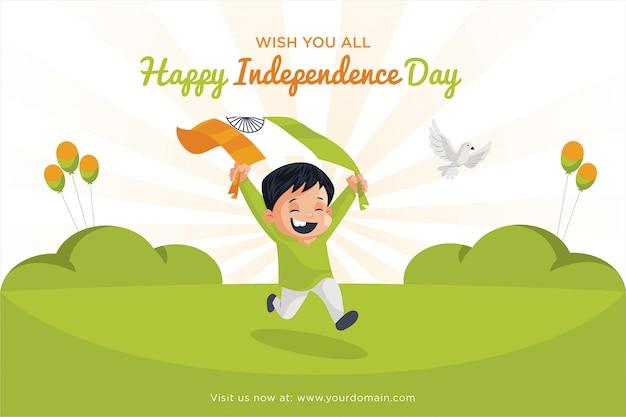 Niño corriendo en el campo ondeando la bandera con ambas manos sobre un fondo de tema indio de tres colores