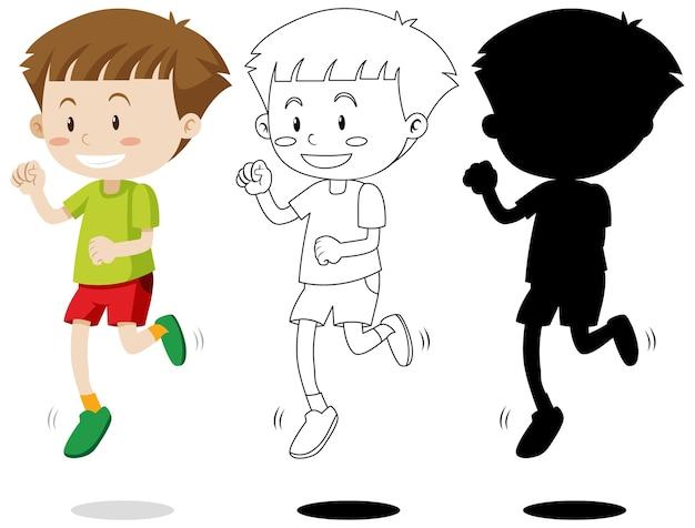 Niño corriendo con su contorno y silueta. vector gratuito