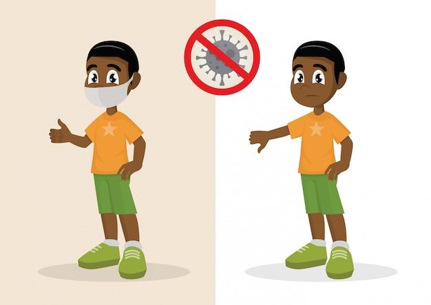 Niño cubriéndose la cara con una máscara médica y mostrando los pulgares hacia arriba y el niño sin rostro con el médico mostrando los pulgares hacia abajo. detenga el coronavirus.