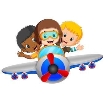 Niño de dibujos animados montando avión volador