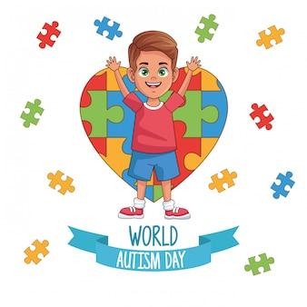 Niño del día mundial del autismo con diseño de ilustración de vector de corazón de rompecabezas