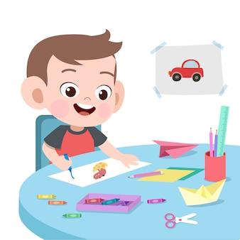 Niño, dibujo, vector, ilustración, aislado