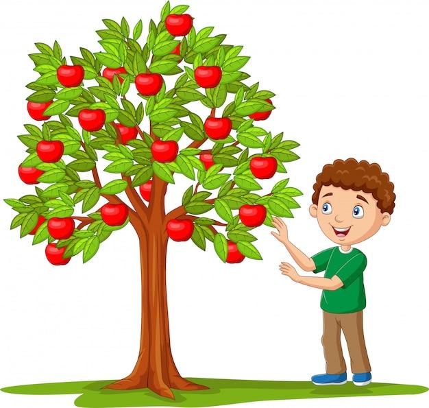 Niño de dibujos animados aislados recogiendo manzanas de manzano