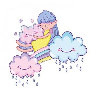 Niño en dibujos animados de arco iris y nubes