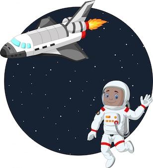 Niño de dibujos animados astronauta con transbordador espacial