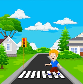 Niño de dibujos animados caminando por el paso de peatones