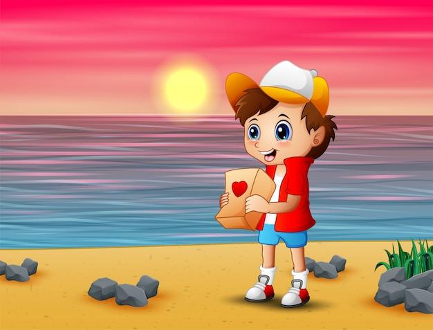 Niño de dibujos animados dando paquetes de regalo para su novia