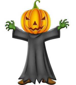 Niño de dibujos animados con disfraz de calabaza de halloween