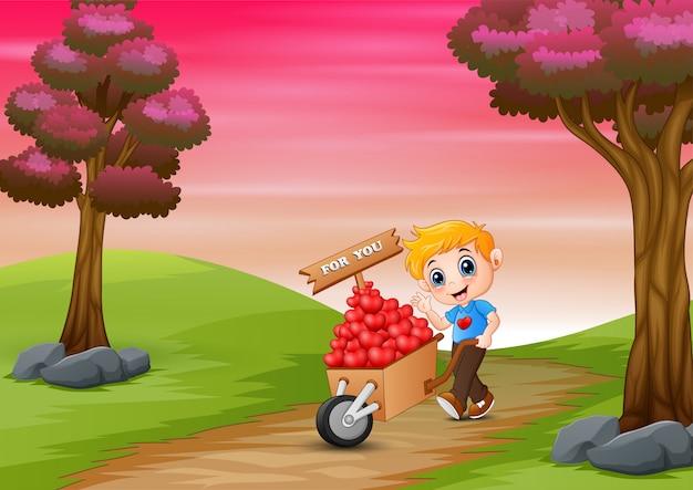 Niño de dibujos animados empujando un montón de corazones en carro de madera