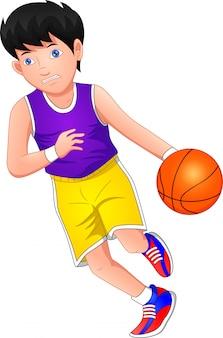 Niño de dibujos animados jugando baloncesto