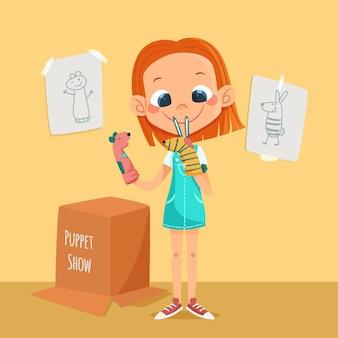 Niño de dibujos animados jugando con marionetas de mano