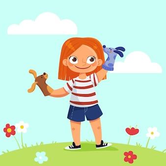 Niño de dibujos animados jugando solo con marionetas de mano