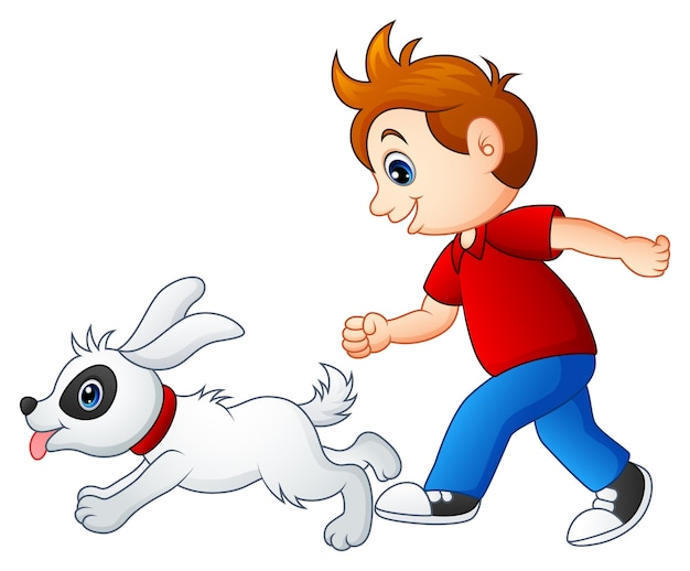 Niño de dibujos animados jugando con su mascota