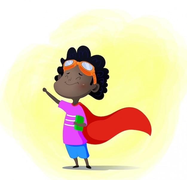 Niño de dibujos animados jugando superhéroe con libro en