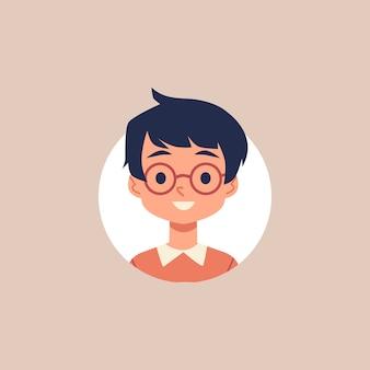 Niño de dibujos animados lindo con gafas y cabello negro - retrato de círculo con niño sonriente sobre fondo blanco. dibujo de niño de escuela - ilustración.