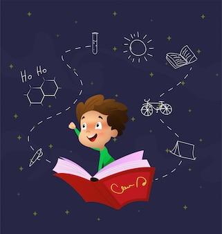Niño de dibujos animados lindo volar a través del cielo nocturno montado en libro