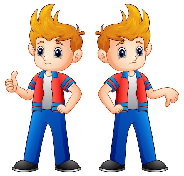 Niño de dibujos animados mostrando los pulgares hacia arriba y hacia abajo