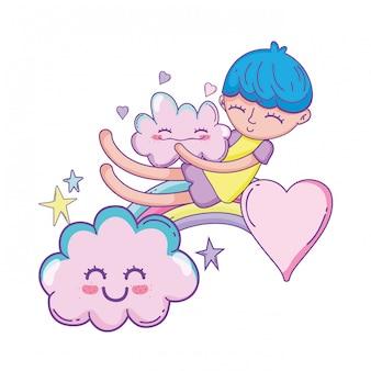 Niño en dibujos animados de nubes