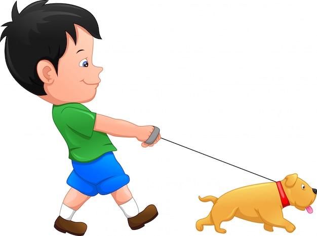 Niño con dibujos animados de perro