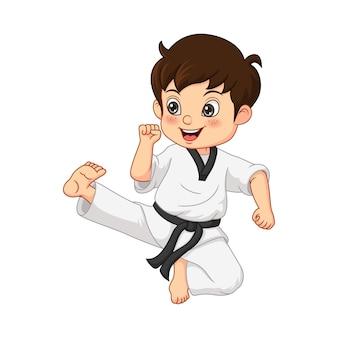 Niño de dibujos animados practicando karate