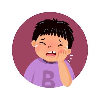 Niño de dibujos animados que sufre de dolor de muelas