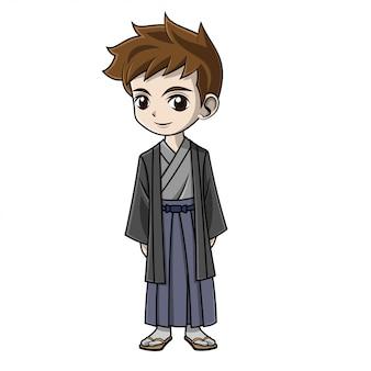 Niño de dibujos animados con ropa japonesa