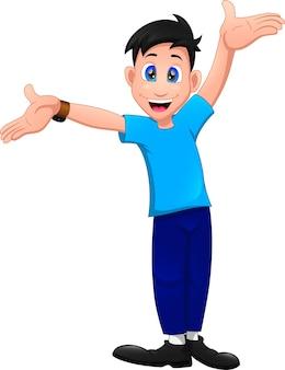Niño de dibujos animados saludando