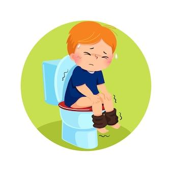 Niño de dibujos animados sentado en el inodoro y que sufre de diarrea o estreñimiento
