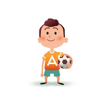 Niño de dibujos animados tiene la pelota en la mano