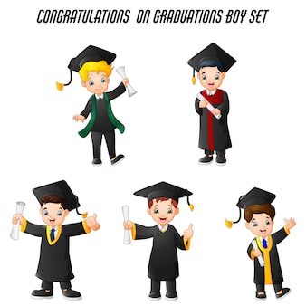 Niño de dibujos animados en trajes de graduación con diferentes poses conjunto
