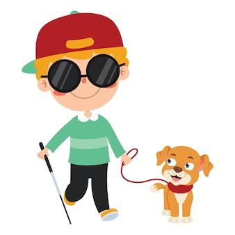 Niño con discapacidad divertidos dibujos animados posando