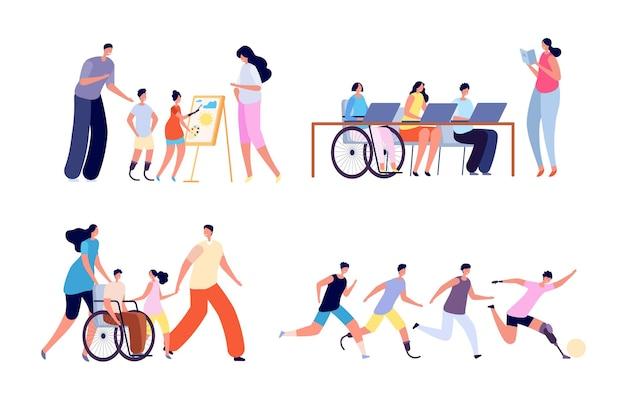 Niño discapacitado. actividad de discapacidad, niña en silla de ruedas en la escuela. niños discapacitados en familia, educación para todo concepto de vector. chica en silla de ruedas, discapacidad y rehabilitación ilustración.
