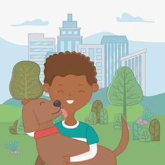Niño con diseño de dibujos animados de perro
