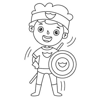 Niño disfrazado con capa y diadema, dibujo de arte lineal para niños, página para colorear