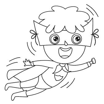 Niño disfrazado con capa y máscara, dibujo de arte lineal para niños, página para colorear