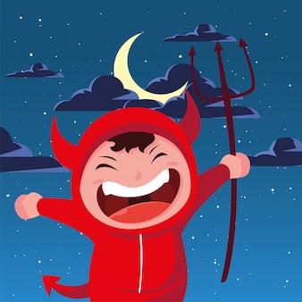 Niño disfrazado de diablo en escena de halloween