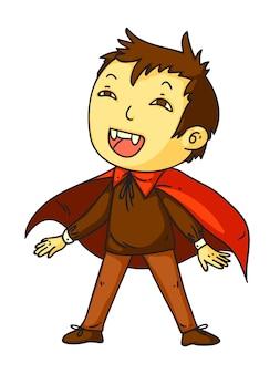 Niño disfrazado de drácula para fiesta de halloween feliz