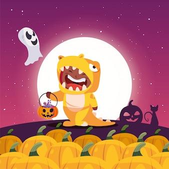 Niño disfrazado en escena de halloween