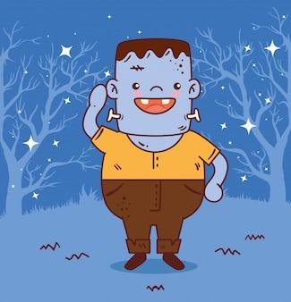Niño disfrazado de frankenstein para feliz celebración de halloween, diseño de ilustraciones vectoriales