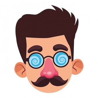 Niño disfrazado con una máscara de perfil de avatar
