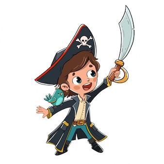 Niño disfrazado de pirata con un loro en el brazo.