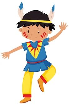 Niño disfrazado de rojo indio