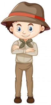 Niño disfrazado de safari en blanco